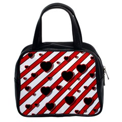 Black and red harts Classic Handbags (2 Sides)
