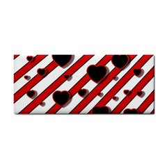 Black and red harts Hand Towel