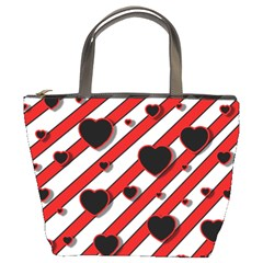 Black and red harts Bucket Bags