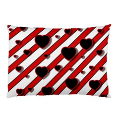 Black and red harts Pillow Case