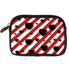 Black and red harts Digital Camera Cases
