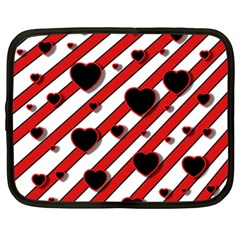 Black and red harts Netbook Case (XL)