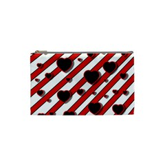 Black and red harts Cosmetic Bag (Small)