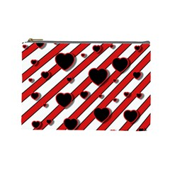 Black and red harts Cosmetic Bag (Large)