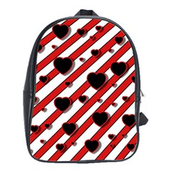 Black and red harts School Bags(Large)
