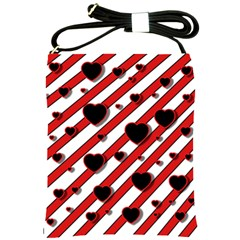 Black and red harts Shoulder Sling Bags