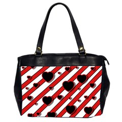 Black and red harts Office Handbags (2 Sides)