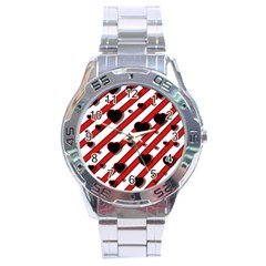 Black and red harts Stainless Steel Analogue Watch