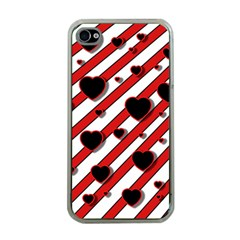 Black and red harts Apple iPhone 4 Case (Clear)