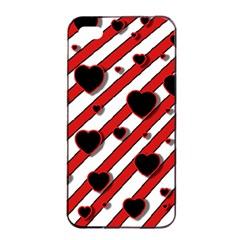 Black and red harts Apple iPhone 4/4s Seamless Case (Black)
