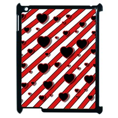 Black and red harts Apple iPad 2 Case (Black)