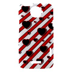 Black and red harts HTC One X Hardshell Case