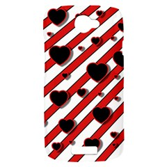 Black and red harts HTC One S Hardshell Case
