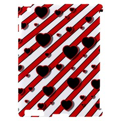 Black and red harts Apple iPad 2 Hardshell Case (Compatible with Smart Cover)