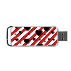 Black and red harts Portable USB Flash (Two Sides)