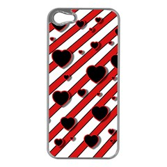 Black and red harts Apple iPhone 5 Case (Silver)