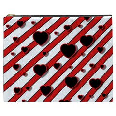 Black and red harts Cosmetic Bag (XXXL)