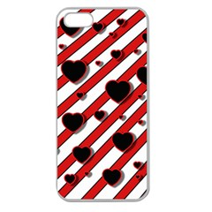 Black and red harts Apple Seamless iPhone 5 Case (Clear)