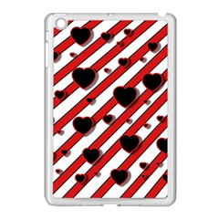 Black and red harts Apple iPad Mini Case (White)