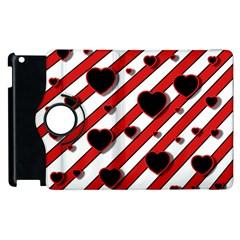 Black and red harts Apple iPad 2 Flip 360 Case