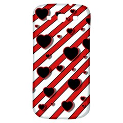 Black and red harts Samsung Galaxy S3 S III Classic Hardshell Back Case