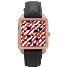 Black and red harts Rose Gold Leather Watch