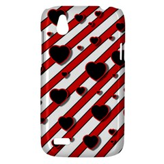 Black and red harts HTC Desire V (T328W) Hardshell Case
