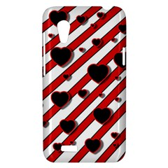 Black and red harts HTC Desire VT (T328T) Hardshell Case