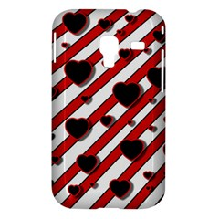 Black and red harts Samsung Galaxy Ace Plus S7500 Hardshell Case