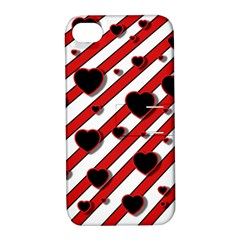 Black and red harts Apple iPhone 4/4S Hardshell Case with Stand