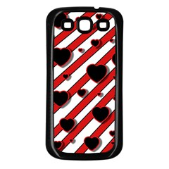 Black and red harts Samsung Galaxy S3 Back Case (Black)