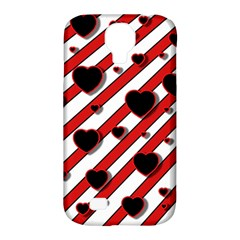Black and red harts Samsung Galaxy S4 Classic Hardshell Case (PC+Silicone)