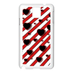 Black and red harts Samsung Galaxy Note 3 N9005 Case (White)