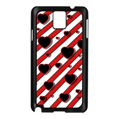 Black and red harts Samsung Galaxy Note 3 N9005 Case (Black)