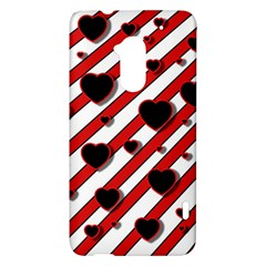 Black and red harts HTC One Max (T6) Hardshell Case