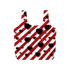 Black and red harts Full Print Recycle Bags (S)