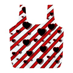Black and red harts Full Print Recycle Bags (L)