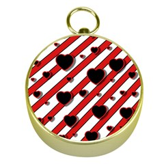Black and red harts Gold Compasses
