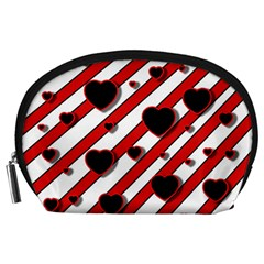Black and red harts Accessory Pouches (Large)