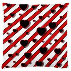 Black and red harts Large Flano Cushion Case (Two Sides)