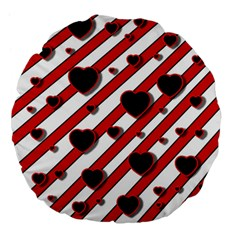 Black and red harts Large 18  Premium Flano Round Cushions