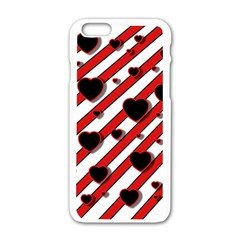 Black and red harts Apple iPhone 6/6S White Enamel Case