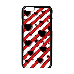 Black and red harts Apple iPhone 6/6S Black Enamel Case