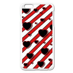Black and red harts Apple iPhone 6 Plus/6S Plus Enamel White Case