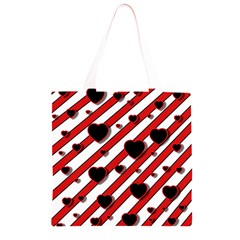 Black and red harts Grocery Light Tote Bag
