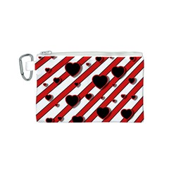 Black and red harts Canvas Cosmetic Bag (S)