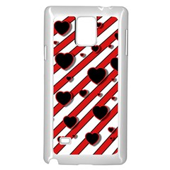 Black and red harts Samsung Galaxy Note 4 Case (White)
