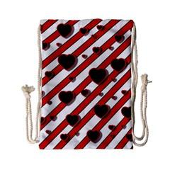 Black and red harts Drawstring Bag (Small)