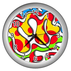 Colorful graffiti Wall Clocks (Silver)