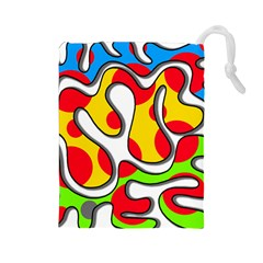 Colorful graffiti Drawstring Pouches (Large)